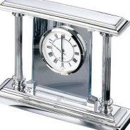 El Casco asztali óra üveg lappal, króm